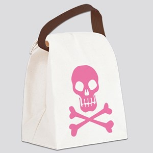Skull And Crossbones Pink Canvas Lunch Bag