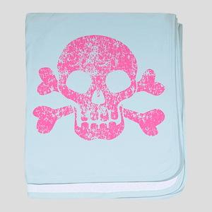 Worn Pink Skull And Crossbones baby blanket
