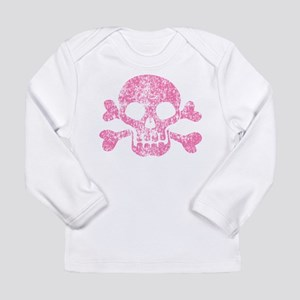 Worn Pink Skull And Crossbones Long Sleeve Infant