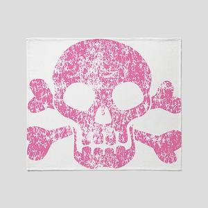 Worn Pink Skull And Crossbones Throw Blanket