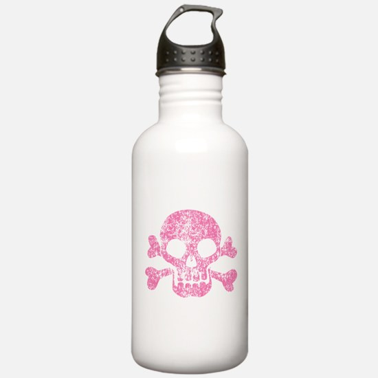 Worn Pink Skull And Crossbones Water Bottle