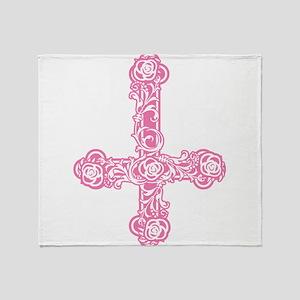 Pink Inverted Cross Throw Blanket