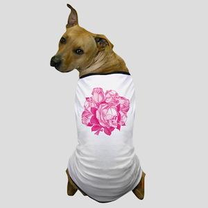 Pink Skull Roses Dog T-Shirt