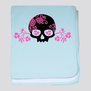 Skull With Pink Blossoms baby blanket