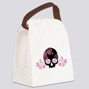 Skull With Pink Blossoms Canvas Lunch Bag