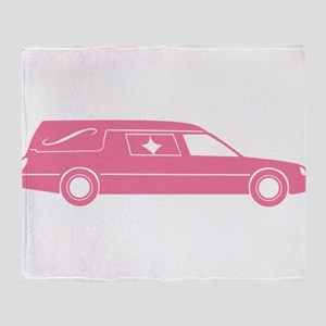 Cute Pink Hearse Throw Blanket