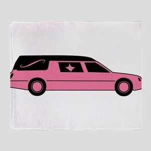Pink And Black Hearse Throw Blanket