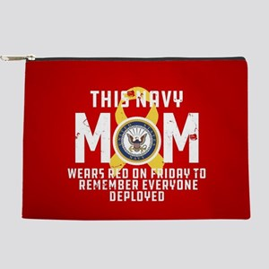 Navy Mom Wears RED Makeup Pouch
