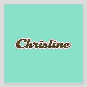 """Christine Aqua Square Car Magnet 3"""" x 3"""""""