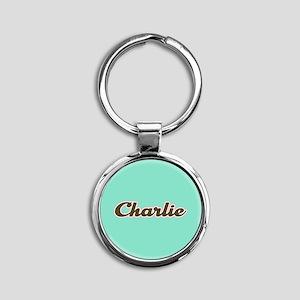 Charlie Aqua Round Keychain