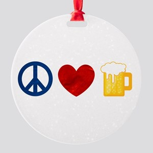 Peace Love Beer Ornament