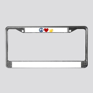 Peace Love Beer License Plate Frame