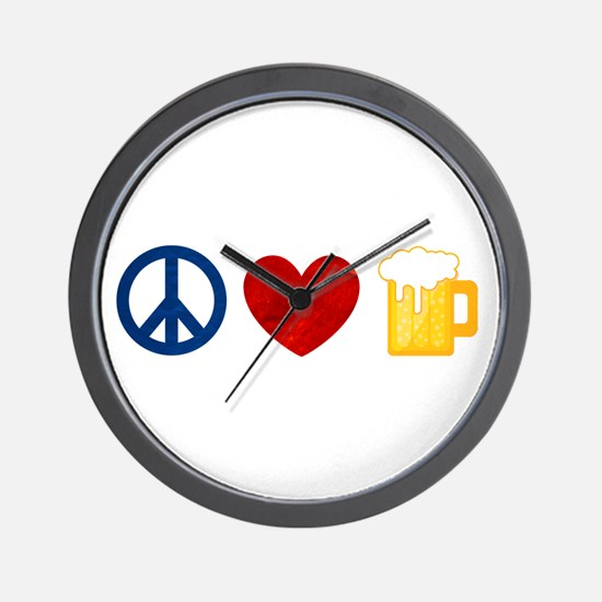 Peace Love Beer Wall Clock