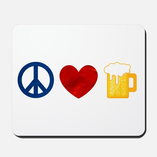 Peace Love Beer Mousepad