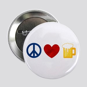 """Peace Love Beer 2.25"""" Button"""