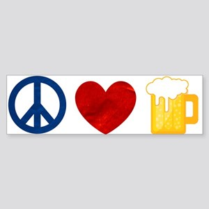 Peace Love Beer Bumper Sticker