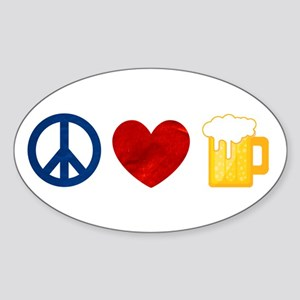 Peace Love Beer Sticker