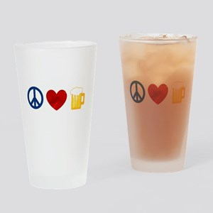 Peace Love Beer Drinking Glass