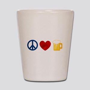 Peace Love Beer Shot Glass