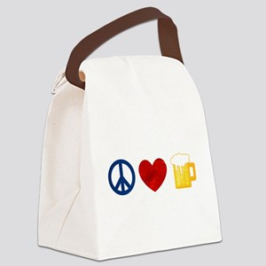 Peace Love Beer Canvas Lunch Bag