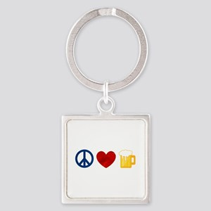 Peace Love Beer Square Keychain