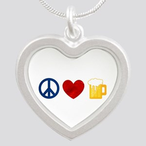 Peace Love Beer Silver Heart Necklace