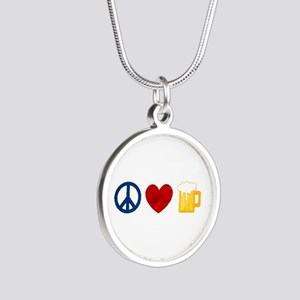 Peace Love Beer Silver Round Necklace