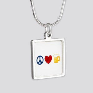 Peace Love Beer Silver Square Necklace