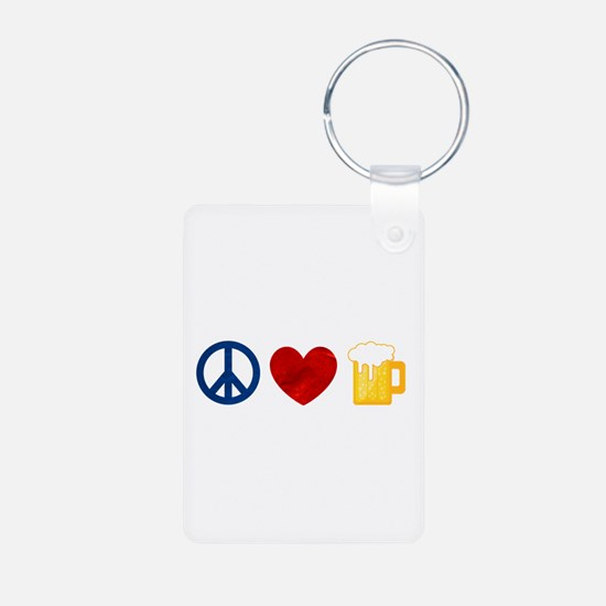 Peace Love Beer Keychains