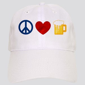Peace Love Beer Baseball Cap