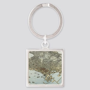 Vintage Pictorial Map of Seattle Washing Keychains