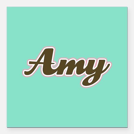 """Amy Aqua Square Car Magnet 3"""" x 3"""""""