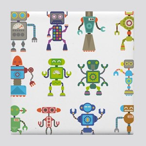 Robots by Phil Atherton Tile Coaster