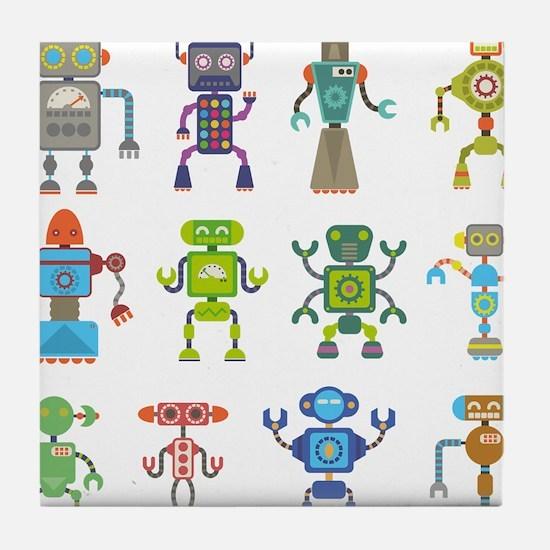 Robots by Phil Atherton Tile Coaster