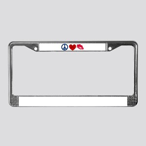 Peace Love Kiss License Plate Frame