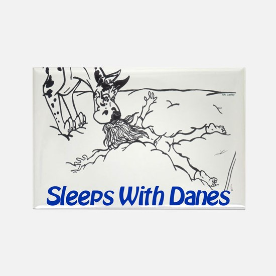Sleeps With Danes Rectangle Magnet