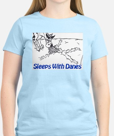 Sleeps With Danes Women's Pink T-Shirt