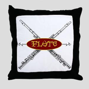 Flute Tribal Throw Pillow