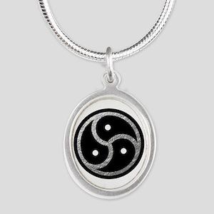 Silver Look BDSM Emblem Silver Oval Necklace