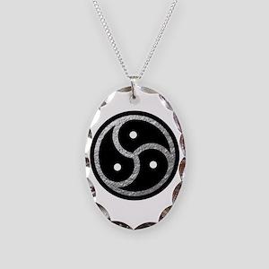 Silver Look BDSM Emblem Necklace Oval Charm