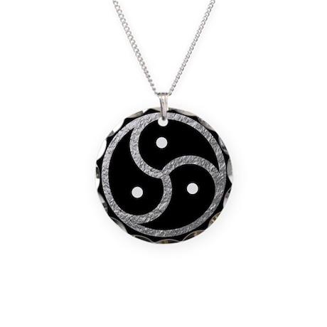 Silver Look BDSM Emblem Necklace Circle Charm