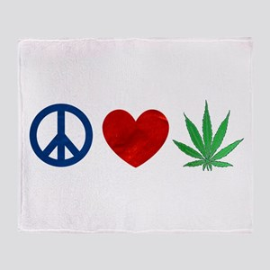 Peace Love Weed Throw Blanket