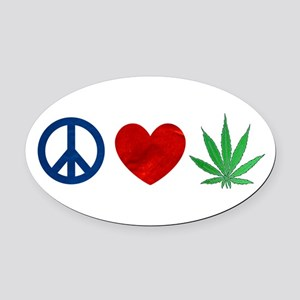 Peace Love Weed Oval Car Magnet