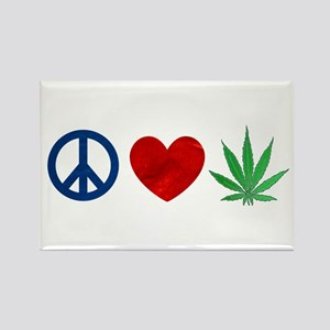 Peace Love Weed Rectangle Magnet