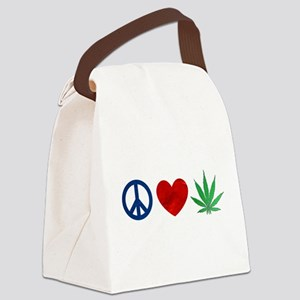 Peace Love Weed Canvas Lunch Bag