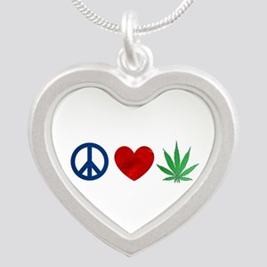 Peace Love Weed Silver Heart Necklace