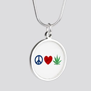 Peace Love Weed Silver Round Necklace
