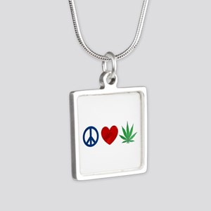 Peace Love Weed Silver Square Necklace