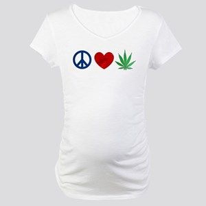 Peace Love Weed Maternity T-Shirt