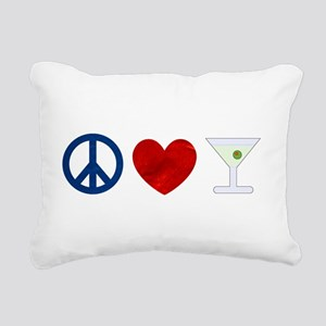 Peace Love Martini Rectangular Canvas Pillow